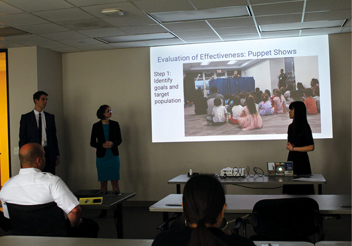 Rice University Houston Action Research Team students presented their analysis of the effectiveness of the HFD's fire safety puppet shows to the command staff in April 2019.