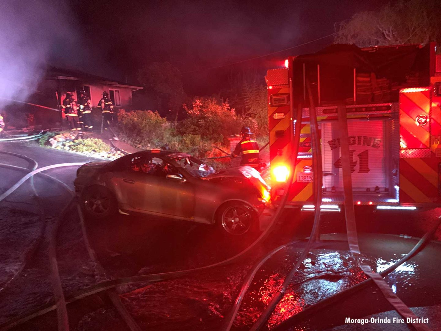 Another view of a burnt vehicle that ran into a California fire apparatus