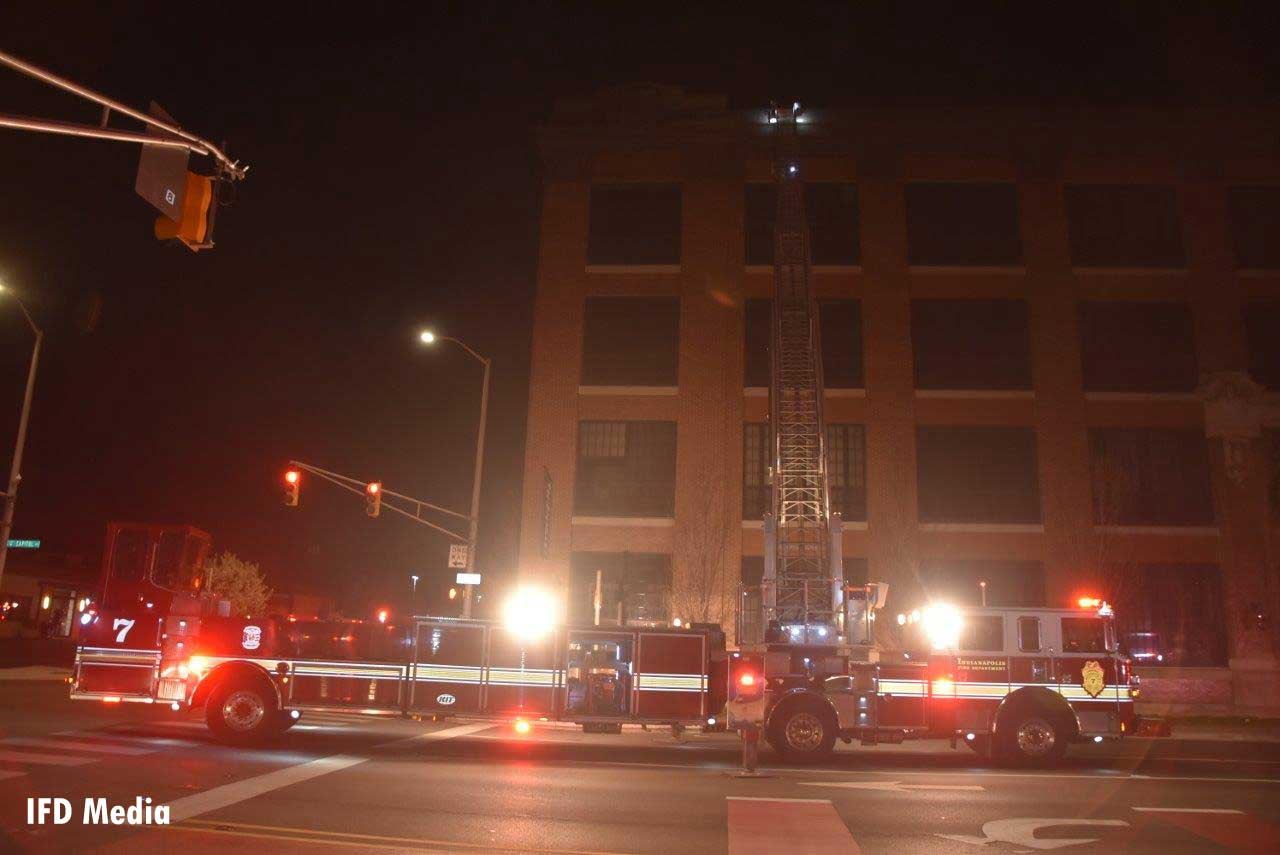 Indianapolis fire truck at apartment fire scene
