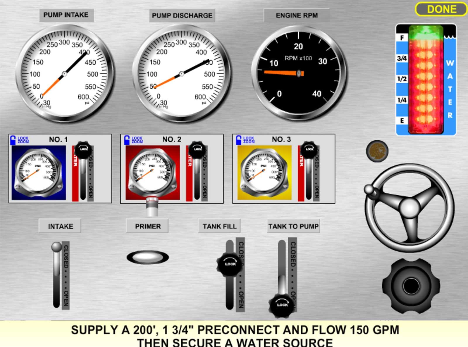 Pump panel simulation