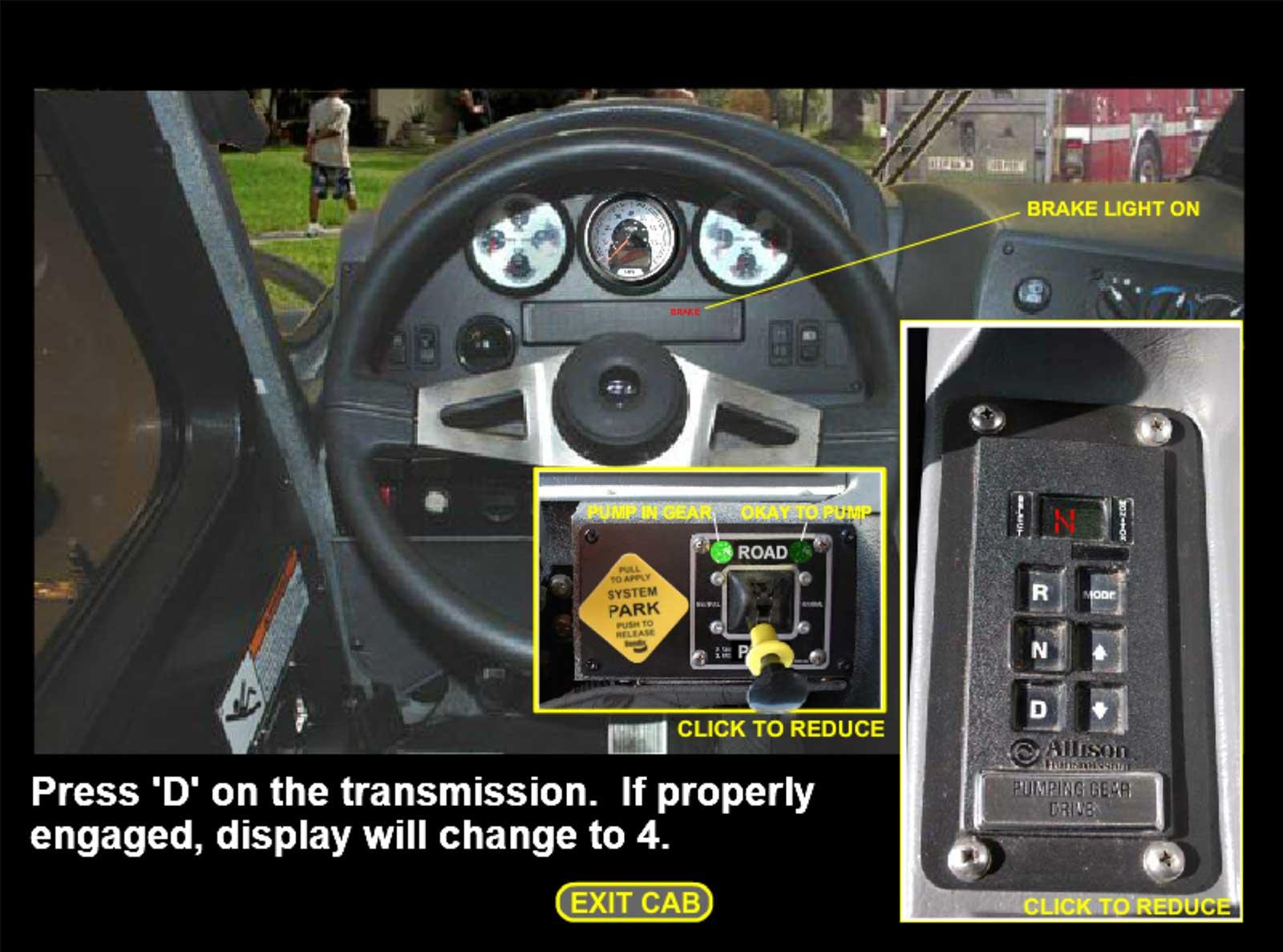 Steering wheel of fire engine