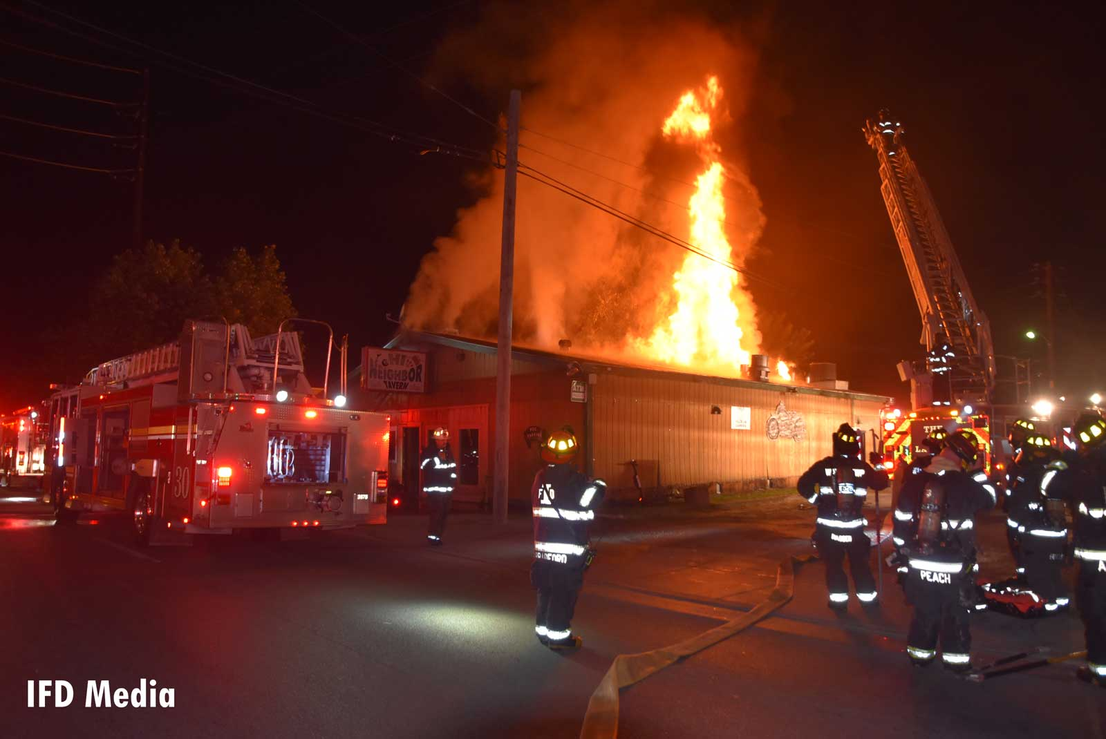 On September 11, 2019, Indianapolis firefighters respond to a fire at the Hi Neighbor Tavern
