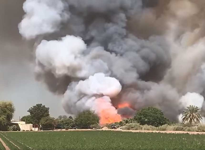 Brush fire raging in Imperial County, California
