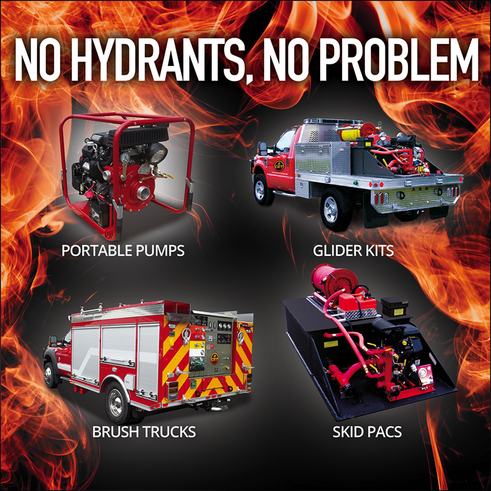 CET manufactures portable pumps, skid units, brush trucks and more to allow fire departments to Adapt, Improvise & Extinguish fire in almost any scenario where hydrants are scarce and static water resources maybe all you have to work with. CET- providing fire ground solutions since 1908!