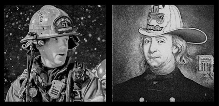 Respecting tradition must include an appreciation for the fire service's culture of diligent innovation. On the left is our modern firefighter. On the right is American fire service founder Benjamin Franklin as depicted in an 1850 painting by Charles Washington Wright.