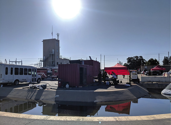 Cosumnes Fire Department training grounds with NASA engineers' AUDREY systems under the canopy.