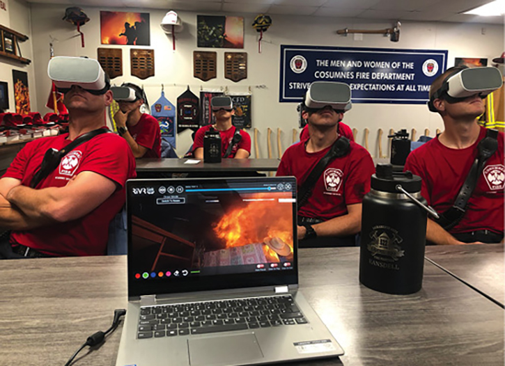 Firefighters undergoing virtual reality training