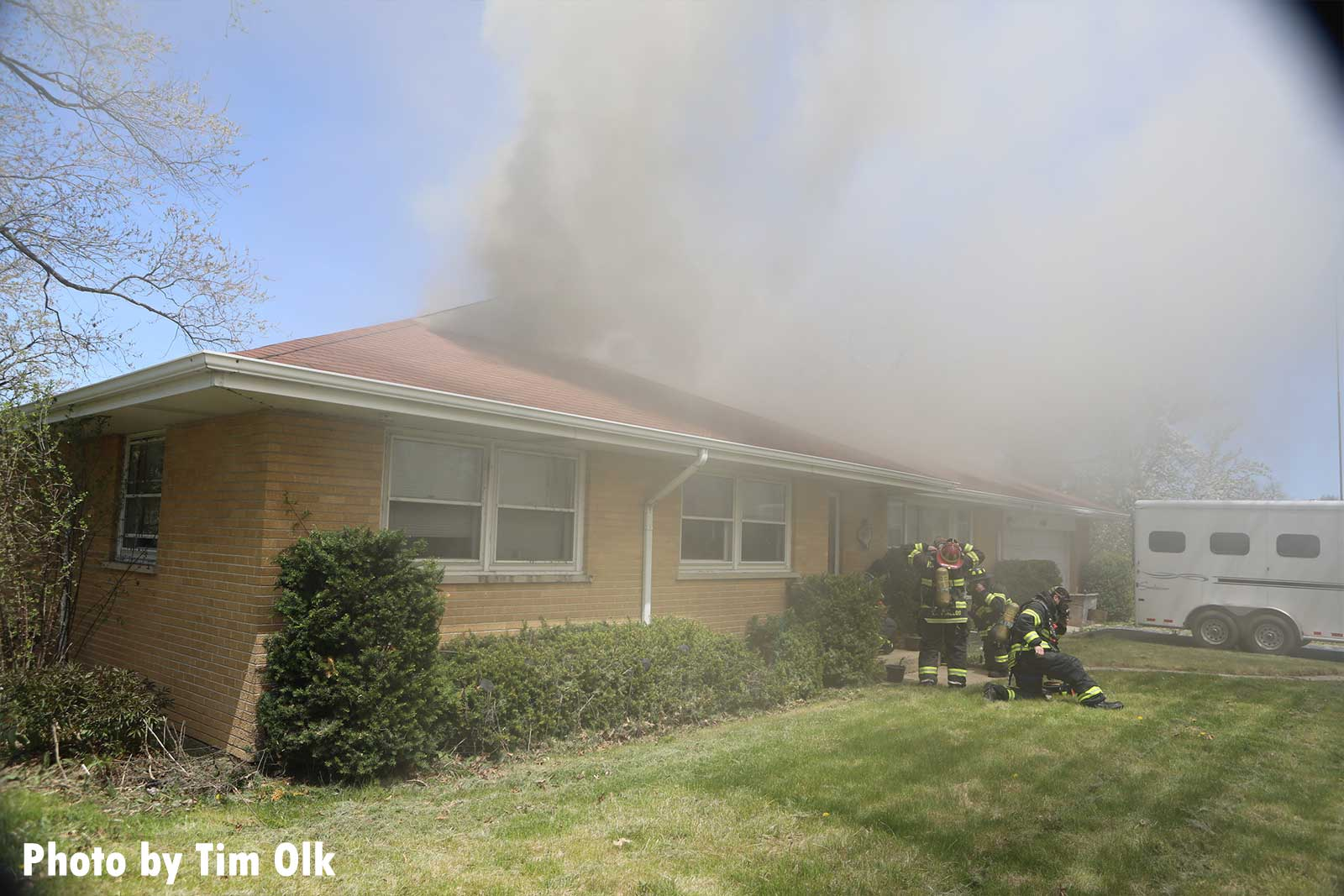 Another angle of smoke coming from the home