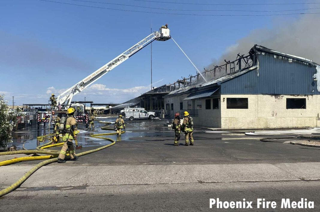 Phoenix firefighters work at two-alarm fire
