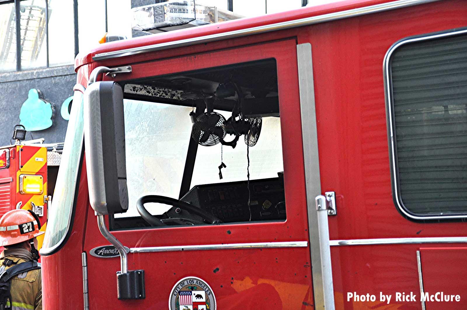 Damage to LAFD apparatus
