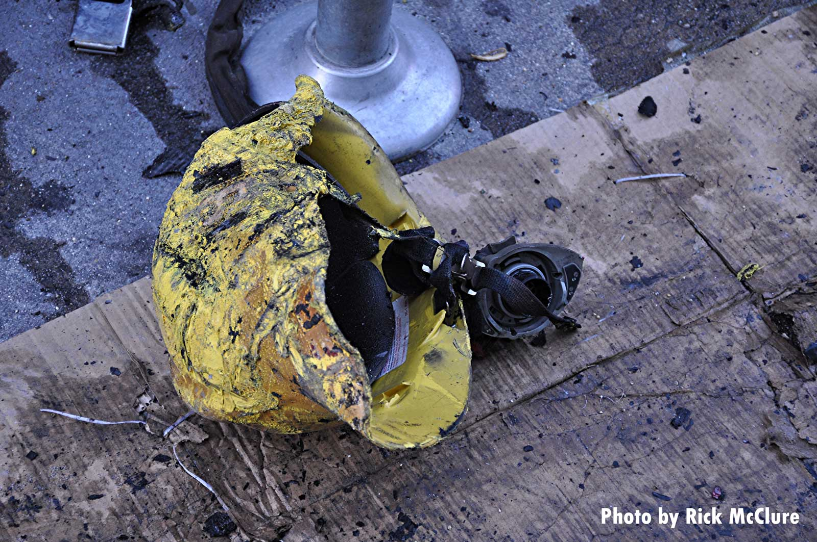 A burned fire helmet after the Los Angeles explosion