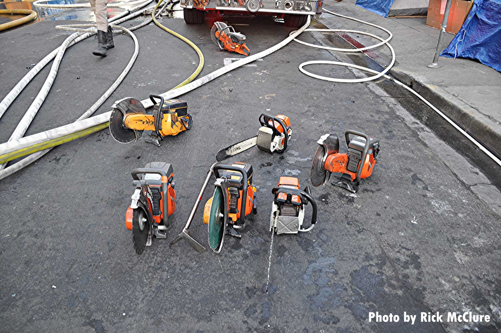 A set of power saws in the street