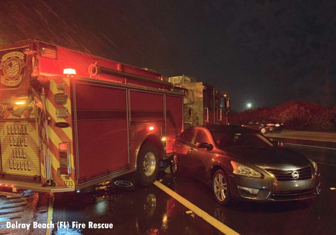 Fire apparatus struck by car