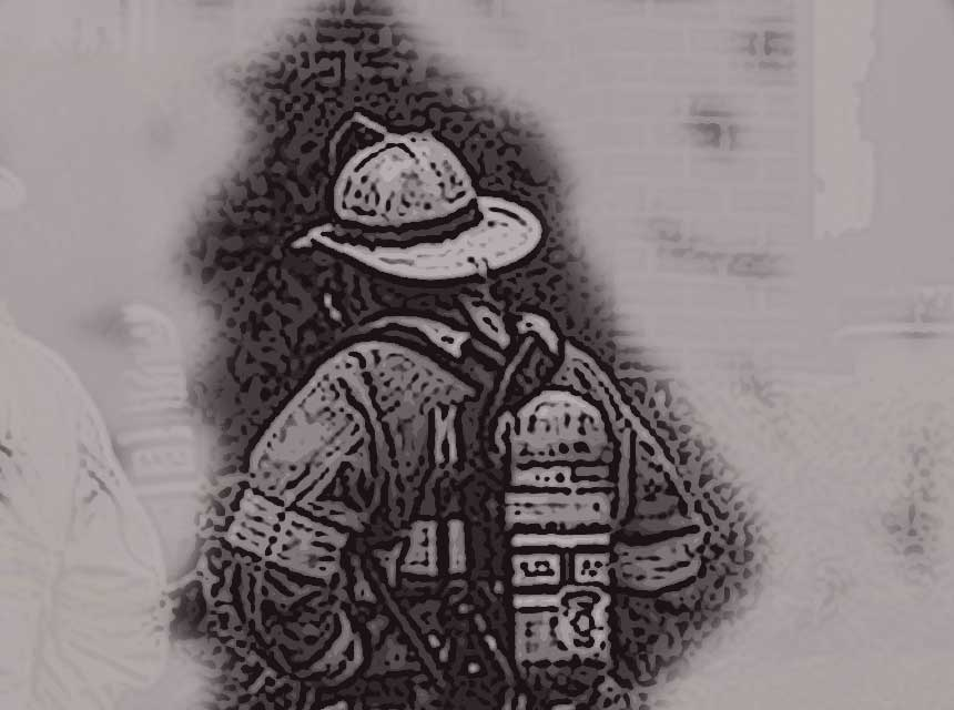 A firefighter with full gear