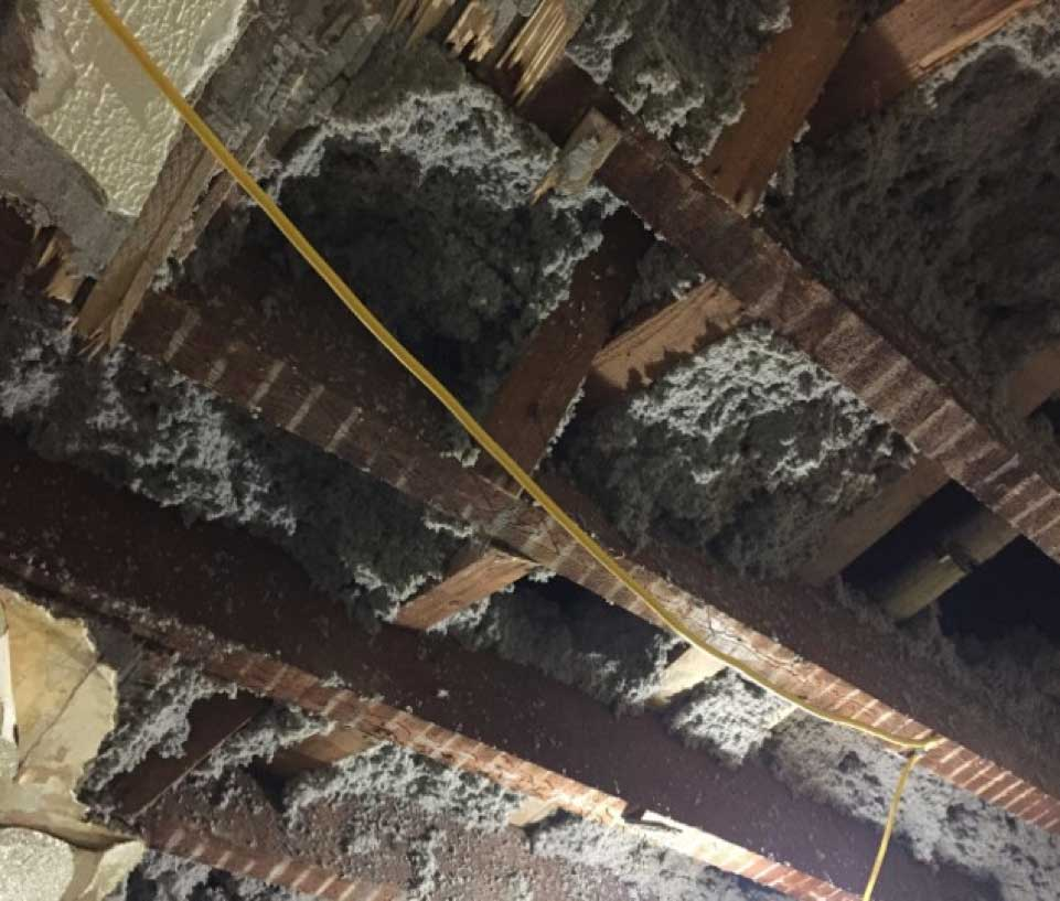 Opened up ceiling