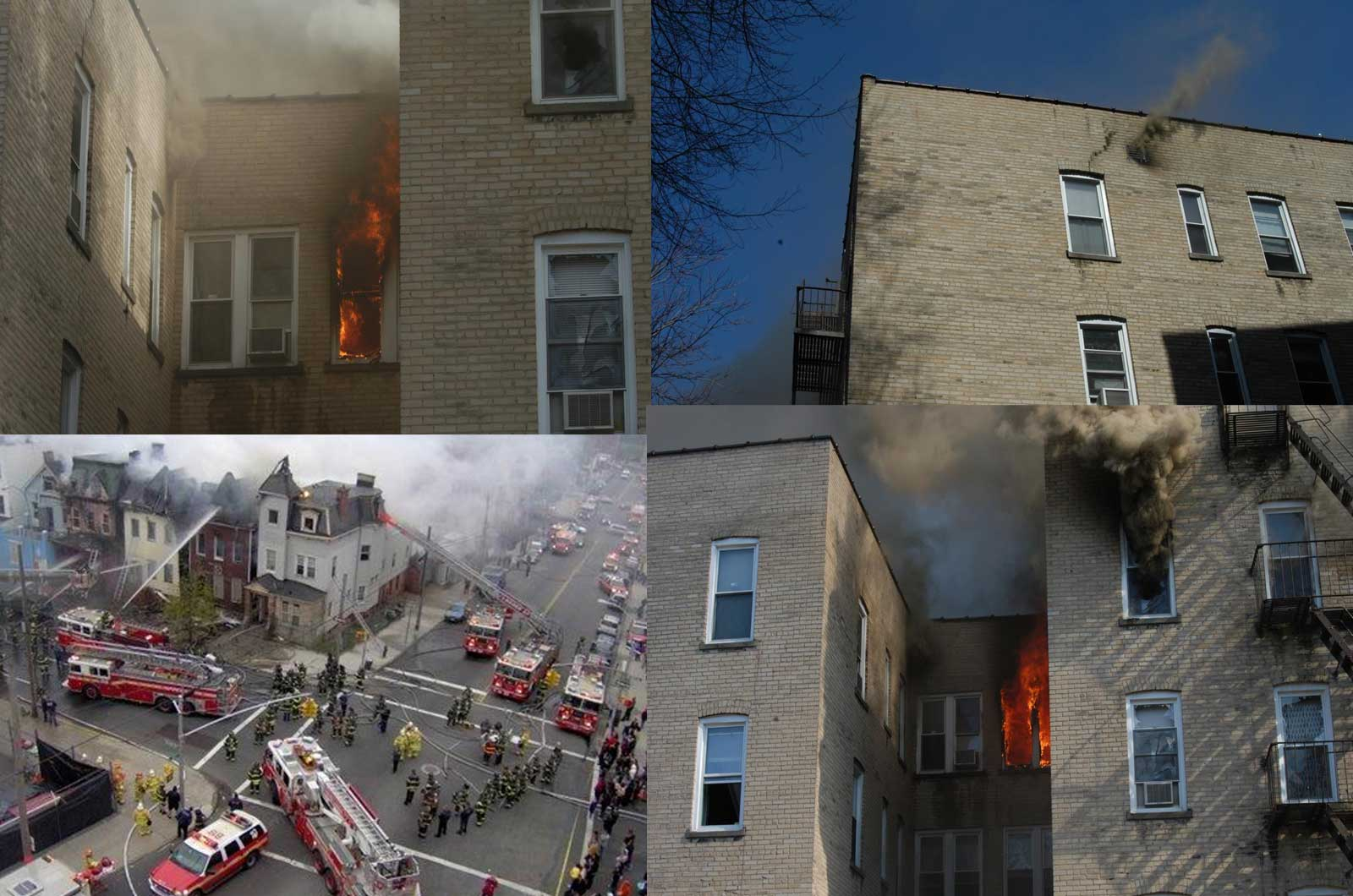 Different views of a fire building and fireground, including fire apparatus array