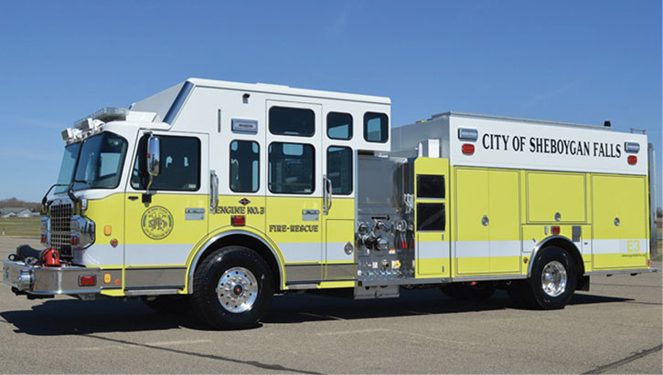 The Sheboygan Falls (WI) Fire Department has in service this CUSTOM FIRE enclosed top-mount pumper.