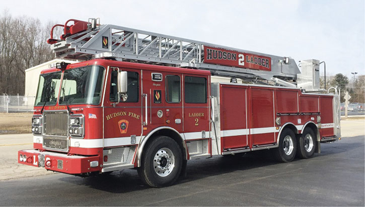 """The Hudson (NH) Fire Department designed this SEAGRAVE rear mount as a """"dedicated truck"""" (no pump or tank)."""