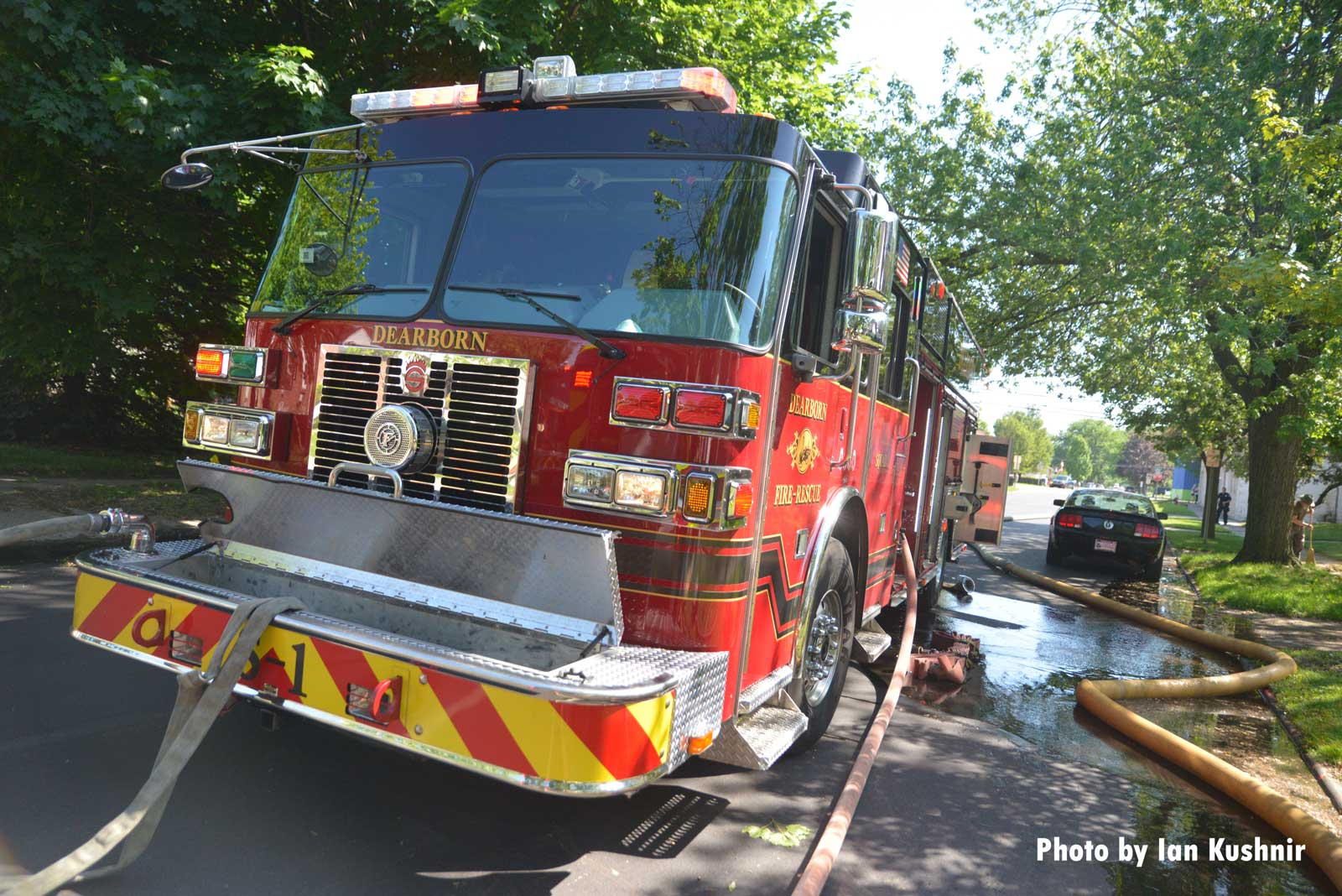 Fire apparatus at the scene of the house fire