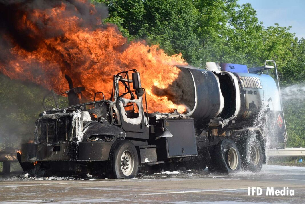 Huge flames rip through the truck