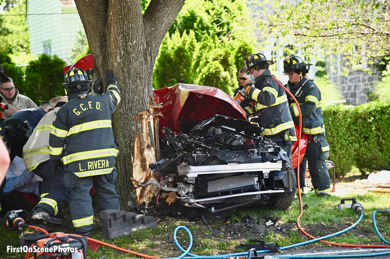 Firefighters at the scene of a significant vehicle crash