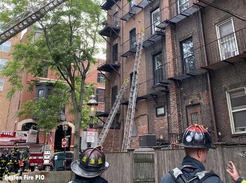 Multiple ladders thrown at Boston Fire Scene