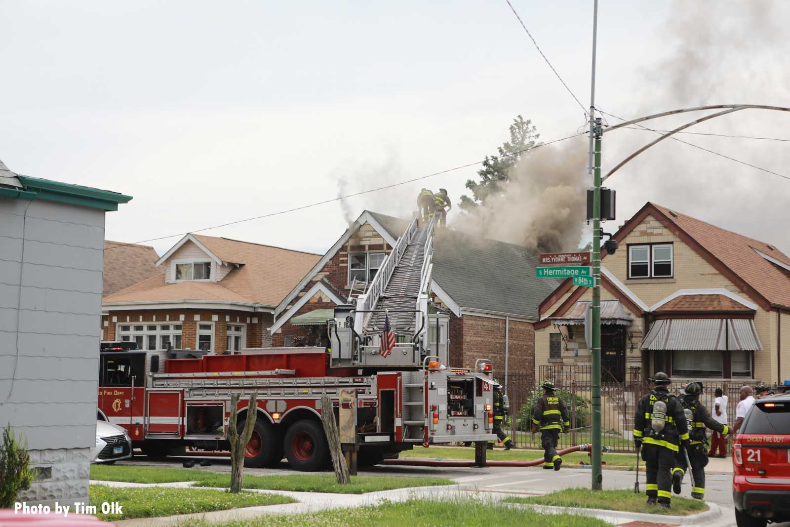 Chicago fire truck at house fire