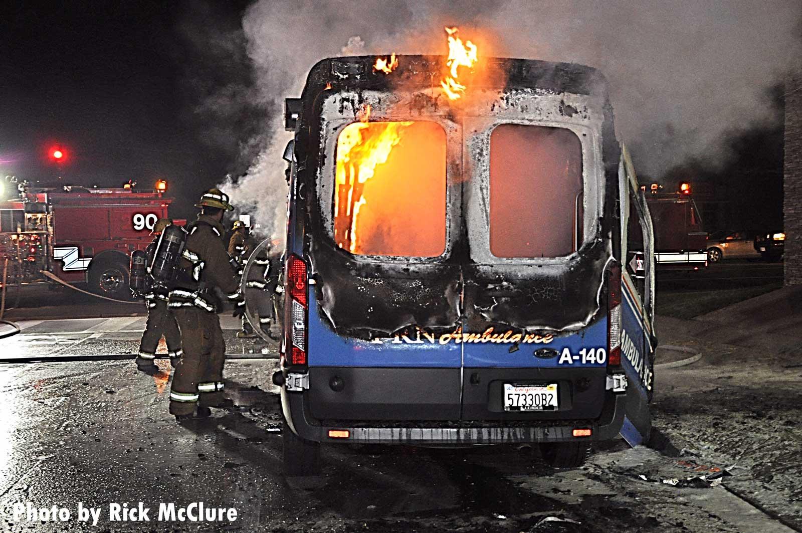 Flames rip through an ambulance in California