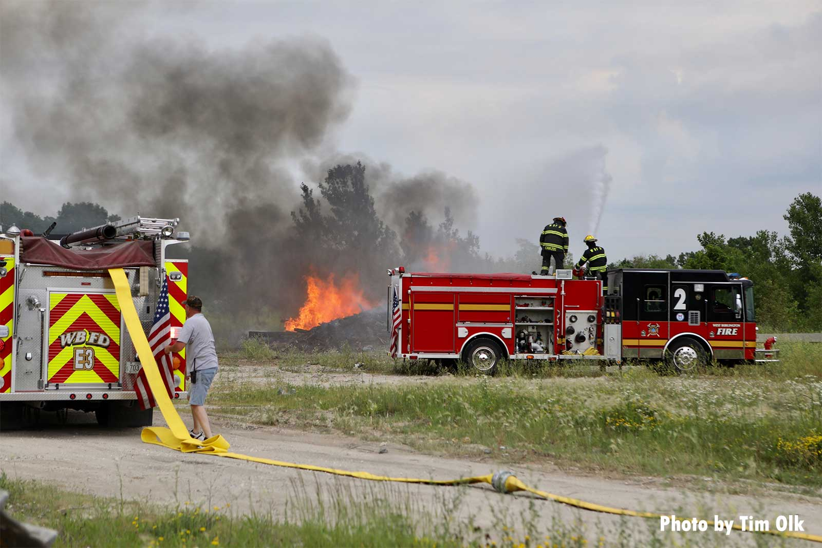 Fire apparatus at the scene of a rubbish fire in Iowa