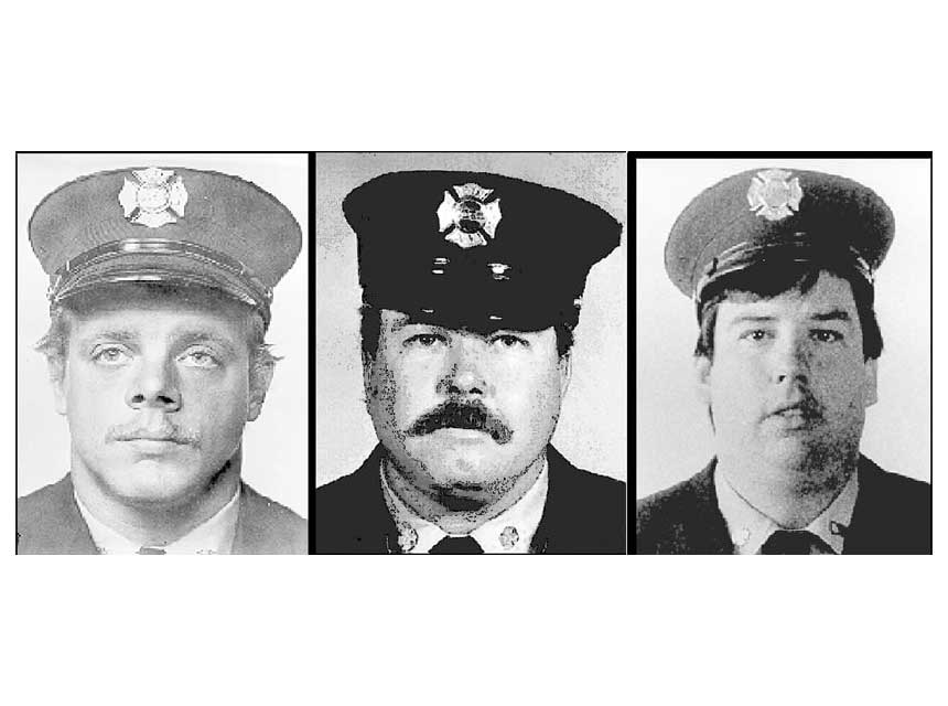 Firefighters Harry S. Ford and Brian D. Fahey of Rescue 4 and John J. Downing of Ladder 163