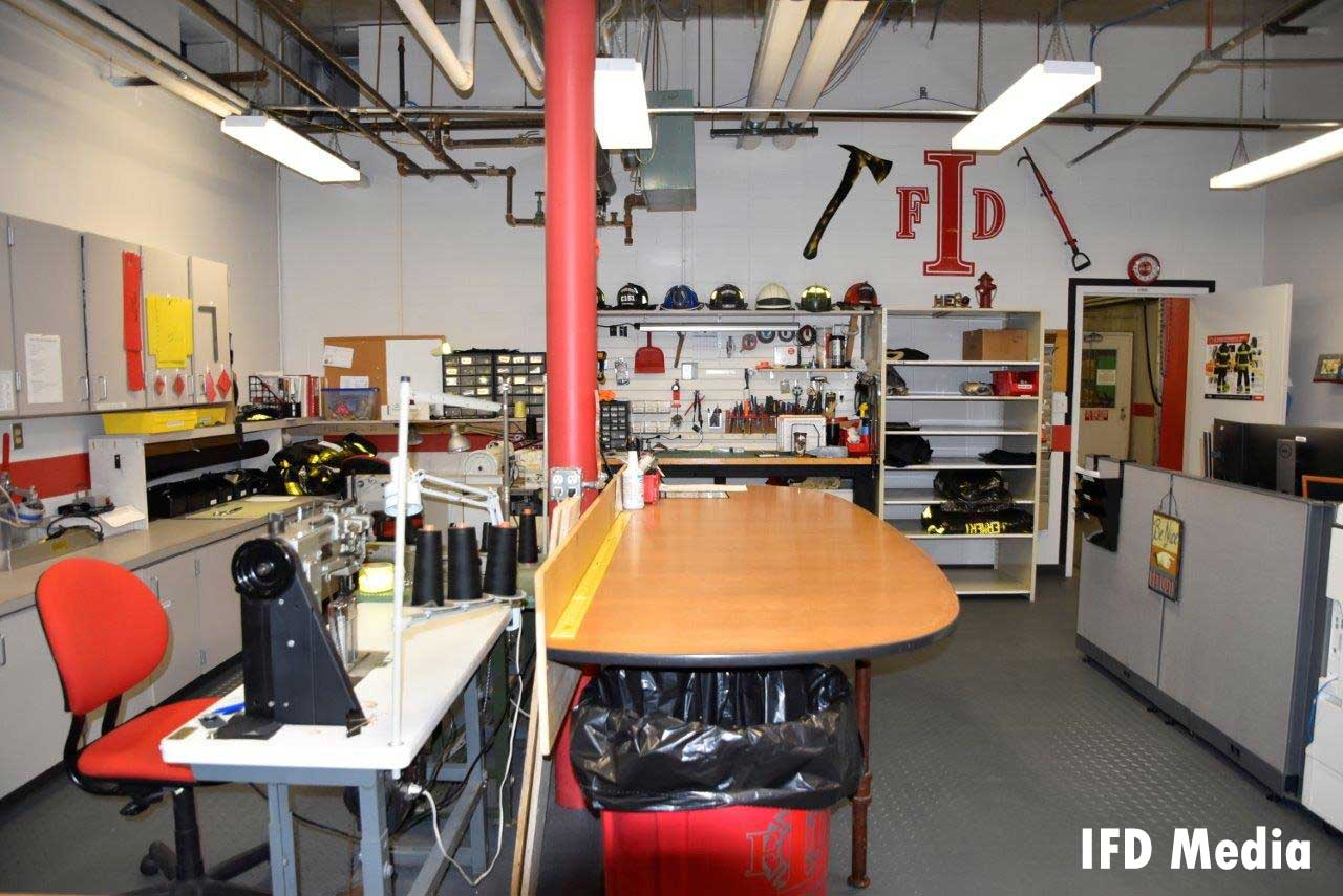 Firefighter turnout gear repair shop