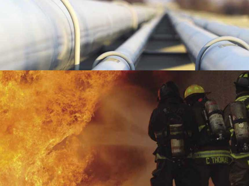 Transmission pipelines and firefighters battling flames from a natural gas emergency