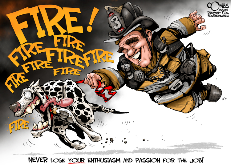 Firefighter with a fire dog on a leash