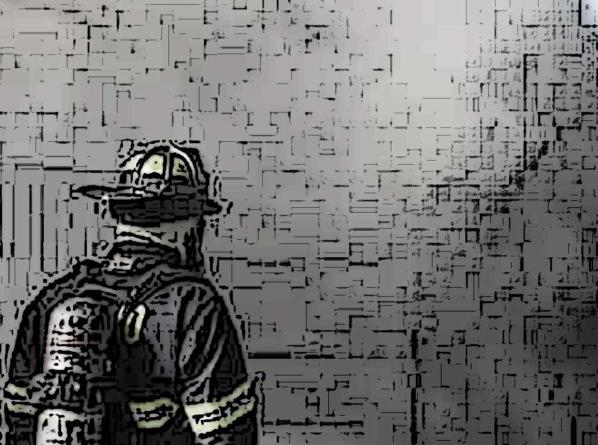 A firefighter in the smoke