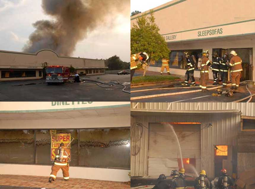 Firefighters respond to the Charleston Sofa Super Store Fire