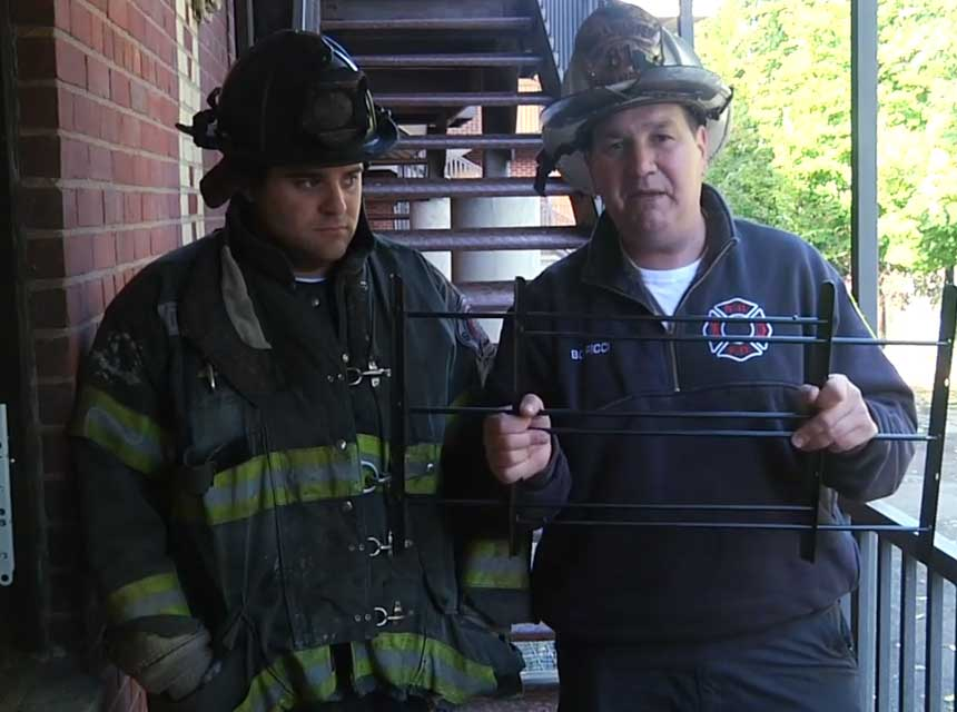 Josh Miller and Frank Ricci on window gate removal