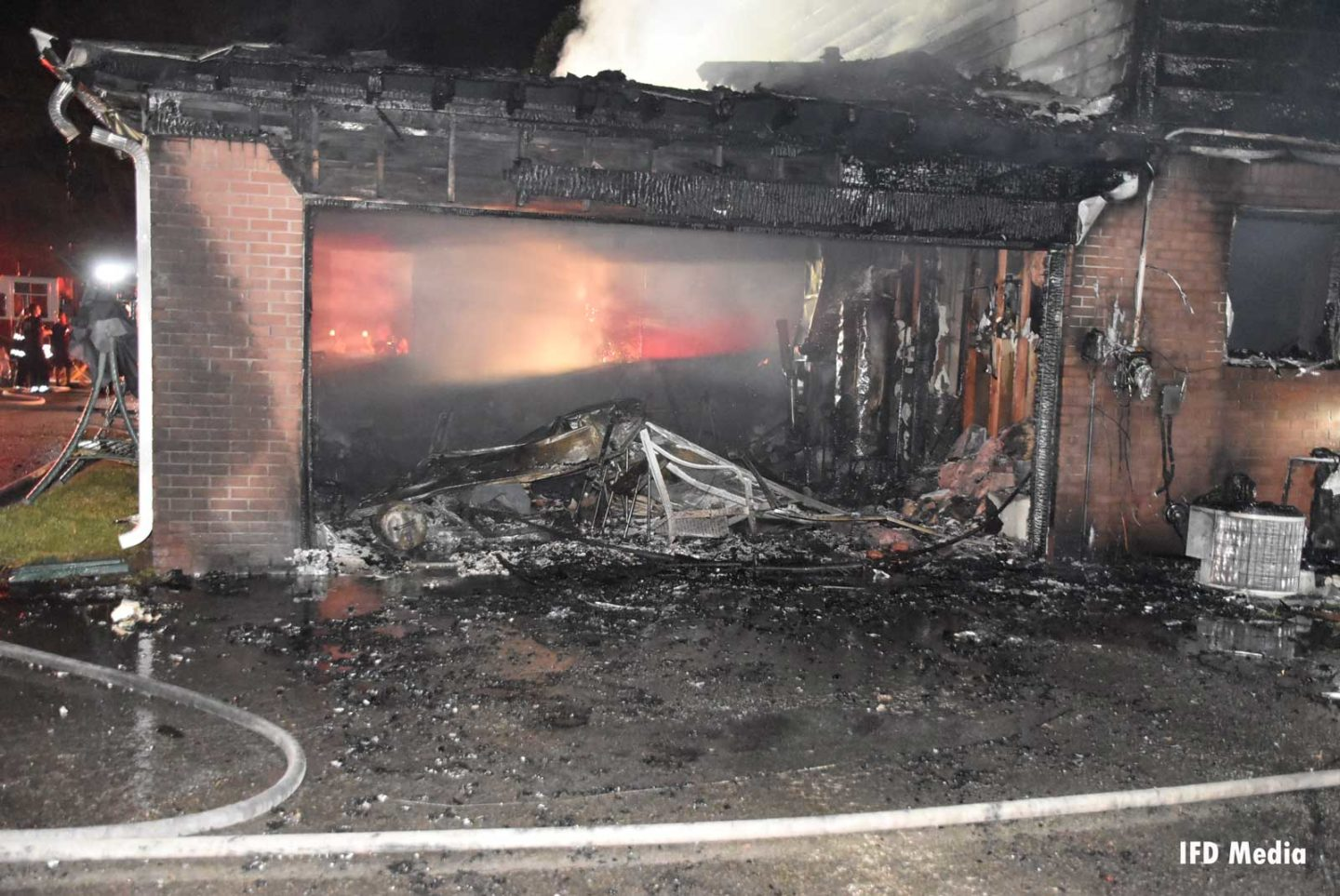 Burned out garage from fireworks fire
