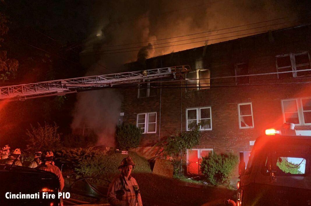 Cincinnati firefighters at three-alarm fire
