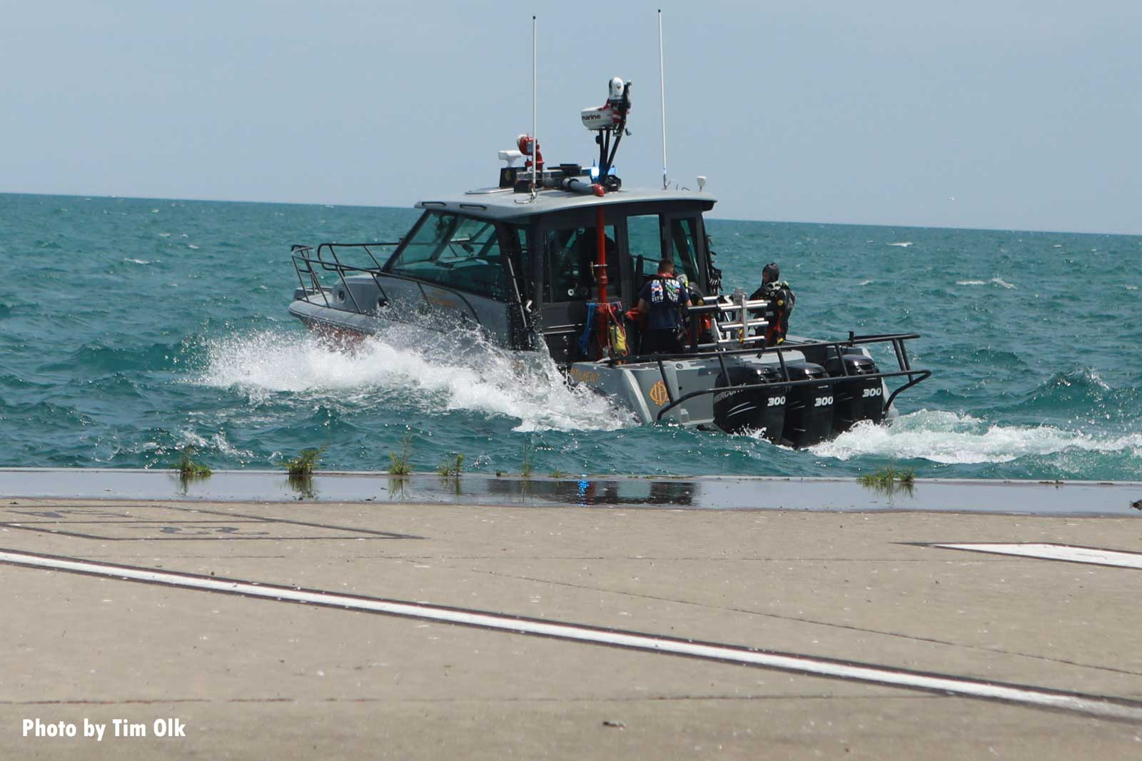 Chicago fire boat with team members