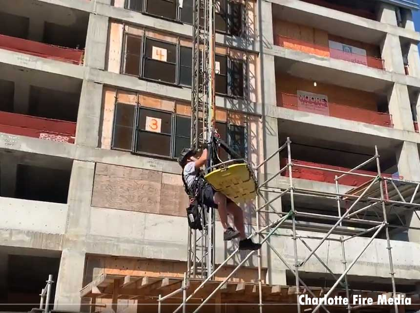 Charlotte firefighter involved in high-angle rescue