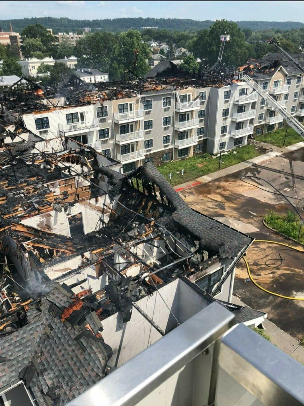 View of damage to ParcView apartment complex