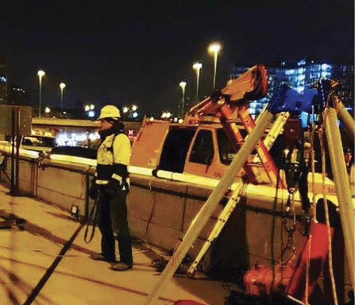 Crews perform on-site standby rescue during an inspection on a major roadway in Chicago, Illinois, in 2019.