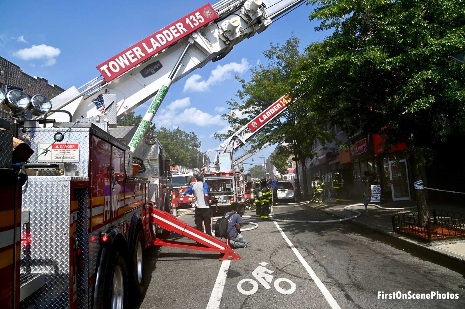 View of apparatus lineup at the fire