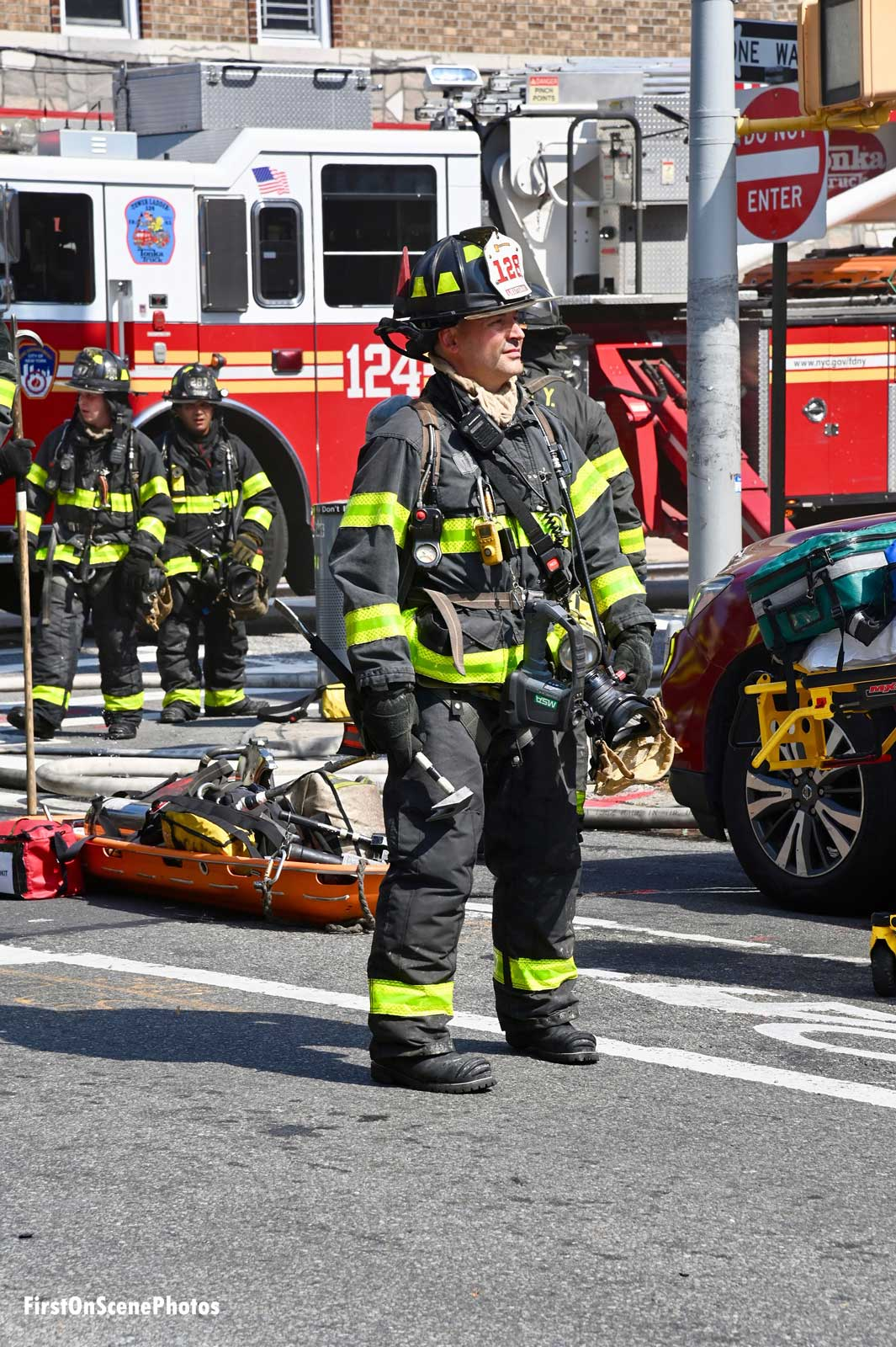 An FDNY firefighter on scene at the fire in Queens