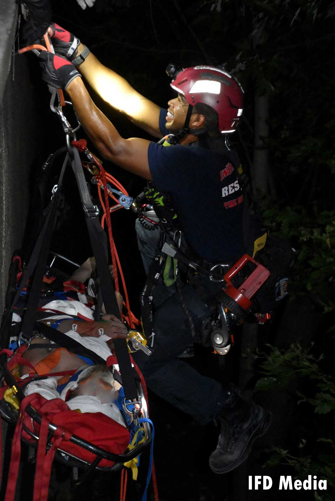 An Indianapolis firefighter and rope rescue system