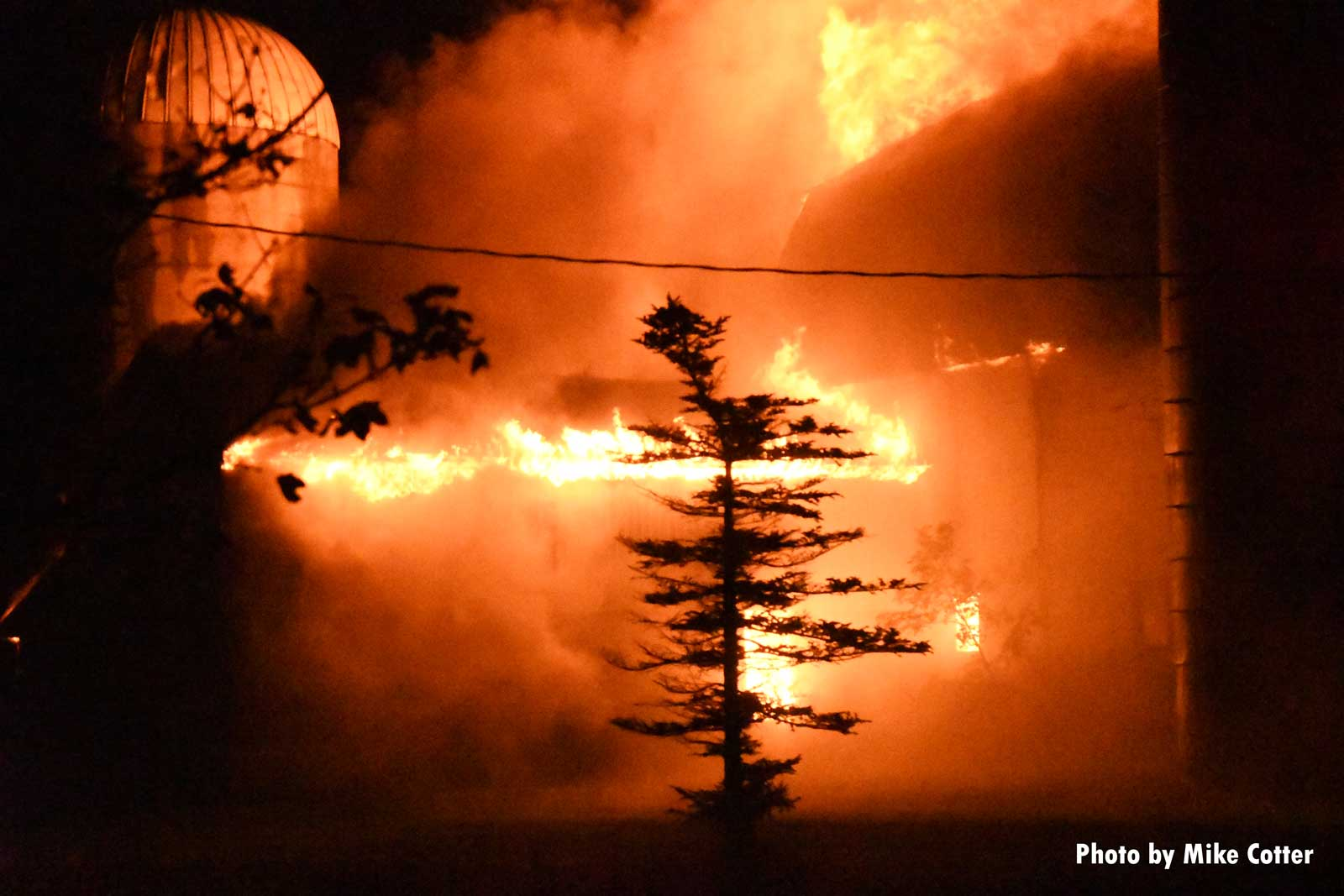 Wisconsin firefighters responded to this raging fire in a barn