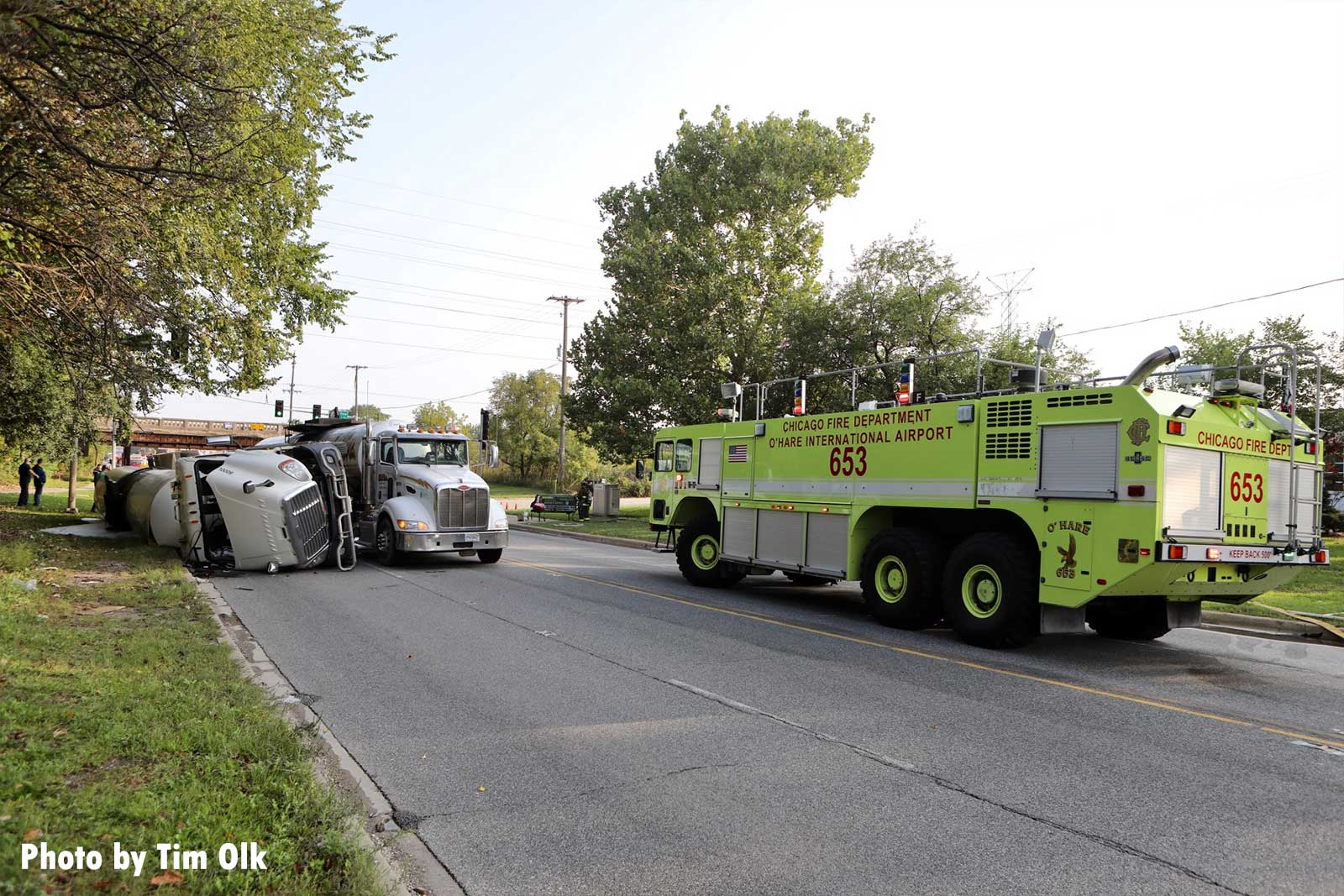 Chicago ARFF truck and rolled-over tanker truck