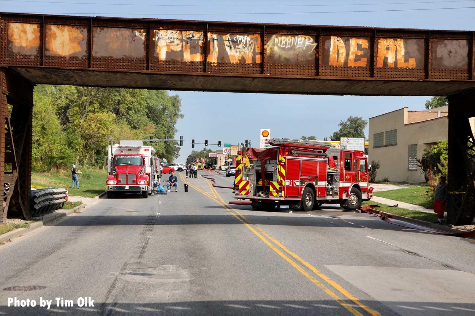 Multiple fire trucks at incident scene