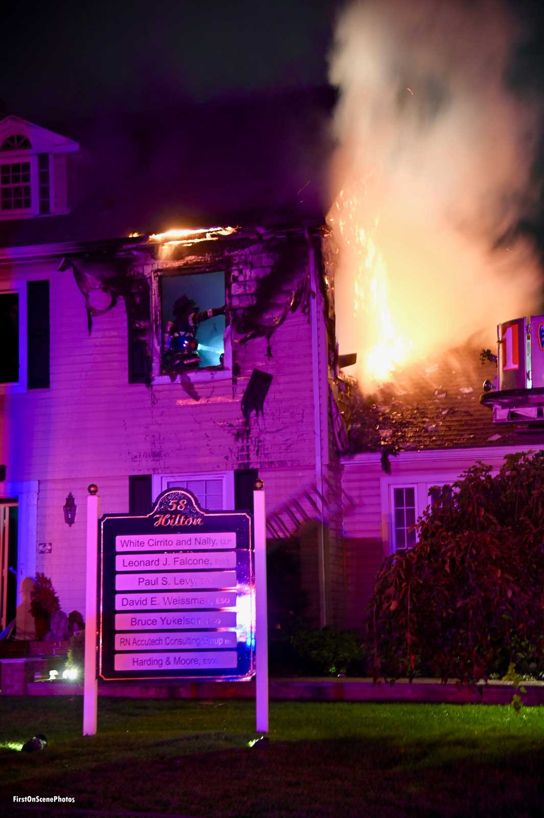 A structure fire in Hempstead on Long Island
