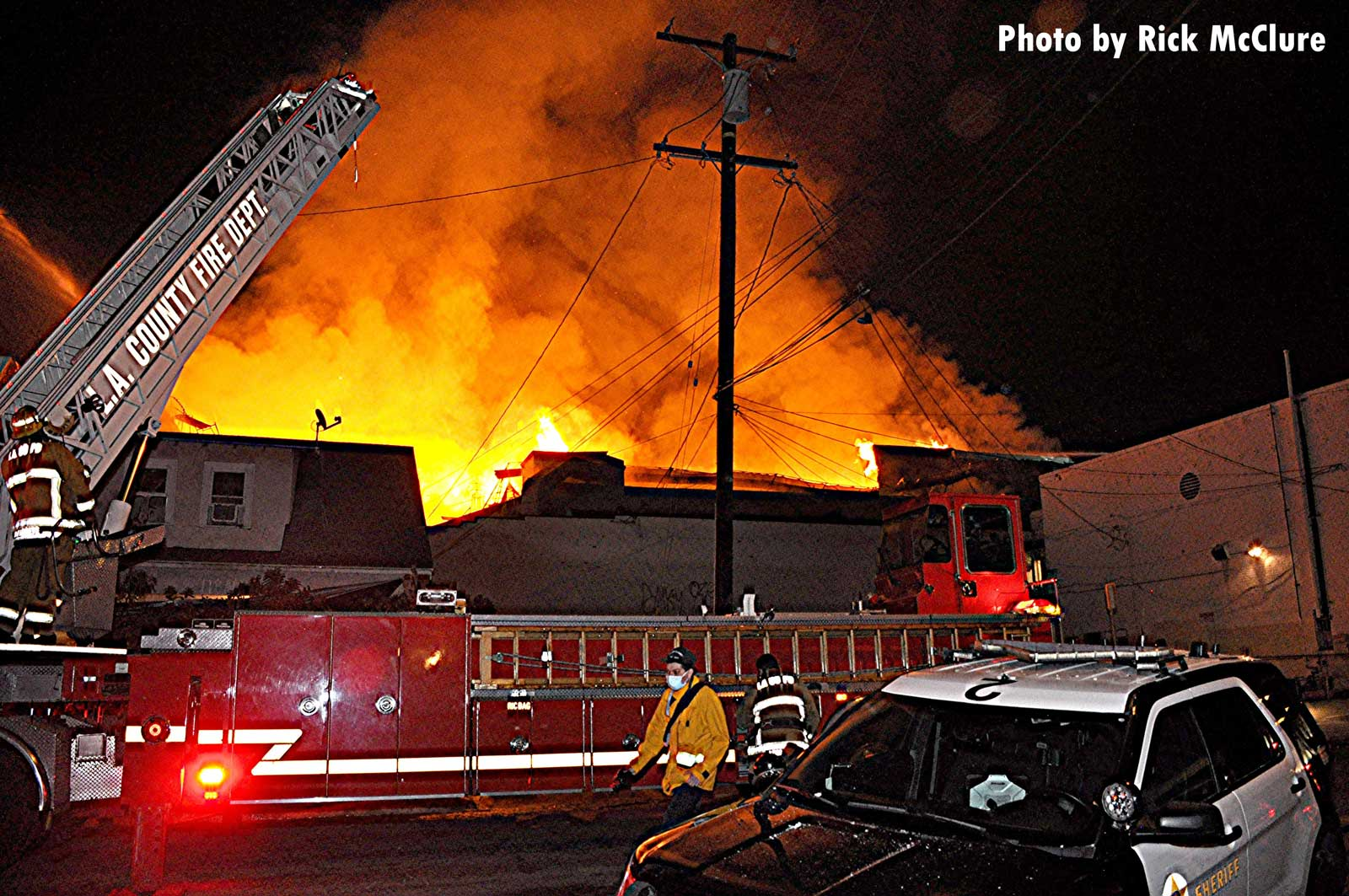 Fire apparatus at major East L.A. fire